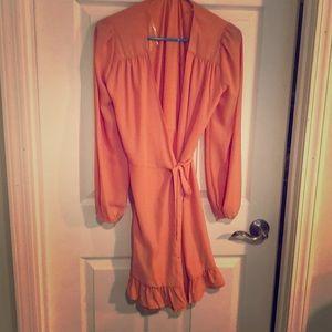 Peach pink long sleeve wrap dress